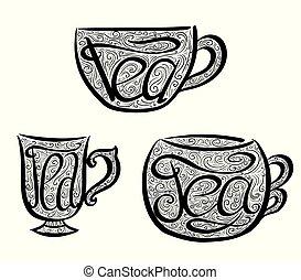lettrage, ensemble, illustration., griffonnage, main, teacups, dessiné, tracery.
