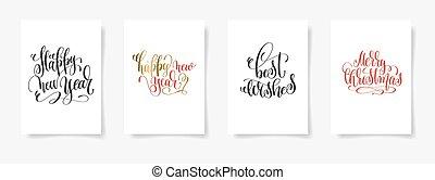 lettrage, ensemble, -, main, affiches, 4, année, nouveau, heureux