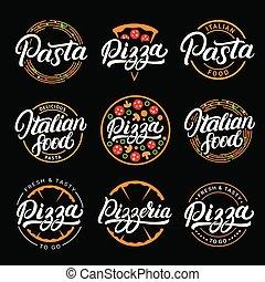 lettrage, ensemble, pizza, logos, badges., nourriture, étiquettes, main écrite, pizzeria, pâtes, italien