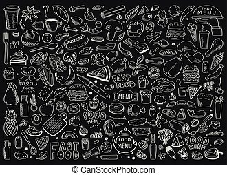 lettrage, ensemble, sain, main, nourriture, vecteur, dessiné, doodles, ingrédient