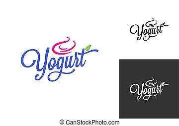lettrage, ensemble, surgelé, vendange, fond, yaourth, logo.,...