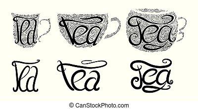 lettrage, ensemble, tracery., teacups, griffonnage