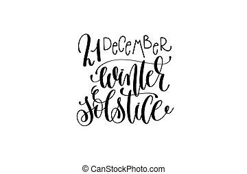 lettrage, félicitation, hiver, inscription, main, solstice