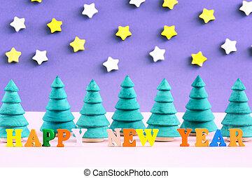 lettrage, fait, coloré, arbres., letters., petit, year., forêt, devant, nouveau, noël, heureux