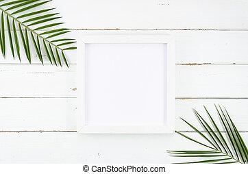 lettrage, fait, plat, texte, cadre, mockup, corners., espace, ou, paume, poser, feuilles, blanc, copie, ton