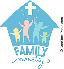 lettrage, famille, illustration, ministère