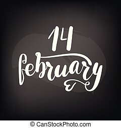 lettrage, february., tableau, 14, tableau noir