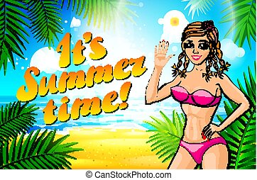 lettrage, femme, prend, été, vendange, temps, bikini, vecteur, mer, affiche, gir., pinup, plage, sunbath.