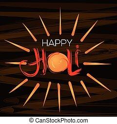 lettrage, festival, annuel, couleurs, indien, holi, manuscrit, celebration., heureux
