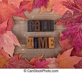 lettrage, feuille, bois, temps, automne, automne, frontière