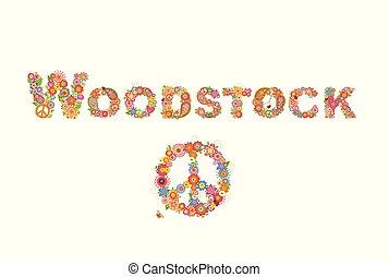 lettrage, fleur, hippie, puissance, affiche, symbole, paix, woodstock, autre, conception, t, fond, fête, fleurs blanches, coloré, impression, chemise