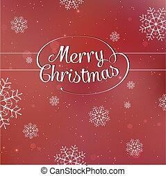 lettrage, flocons neige, fond, vecteur, rouges, joyeux noël, carte, imbriqué