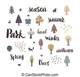 lettrage, forêt, arbres