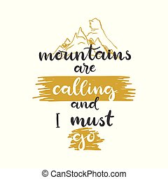 lettrage, go., illustration., montagnes, appeler, vecteur, locution, devoir