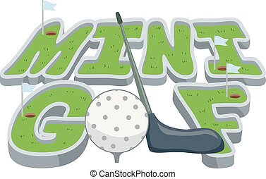 lettrage, golf, illustration, mini