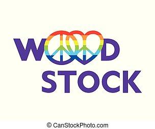 lettrage, hippie, arc-en-ciel, affiche, paix, woodstock, symboles, autre, conception, t, fond, fête, blanc, impression, chemise