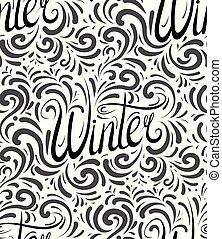lettrage, hiver, modèle, main., seamless, texture, calligraphic, écrit, balck, blanc