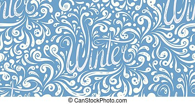 lettrage, hiver, modèle, pattern., seamless, tracery, écrit, main, calligraphic
