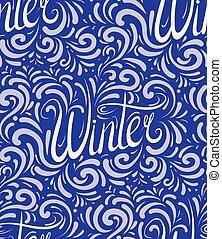 lettrage, hiver, modèle, seamless, calligraphic, écrit, main