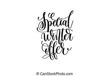 lettrage, hiver, offre, -, vente, main, noël, spécial