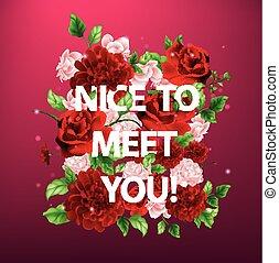 lettrage, illustration, rencontrer, vous, fleurs, gentil