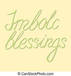 lettrage, imbolc, lumière, -, salutation, vecteur, vert, ...