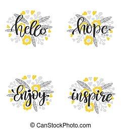 lettrage, inscription, motivation, -, main, vecteur, dessiné, composition