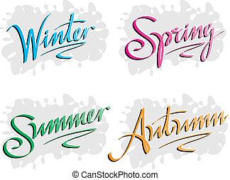 lettrage, inscriptions, main, saisons