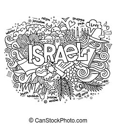 lettrage, israël, éléments, main, fond, doodles