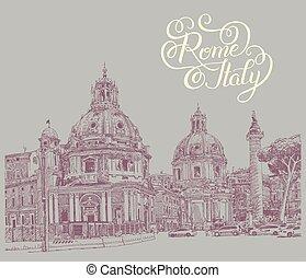 lettrage, italie, dessin, rome, numérique, cityscape, original