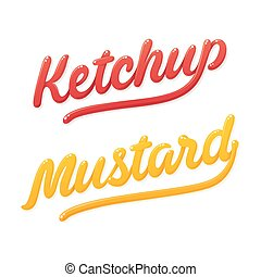 lettrage, ketchup, moutarde