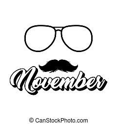 lettrage, lunettes soleil, clipart., moustaches, isolé, noir, silhouette, novembre