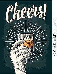 lettrage, mâle, whisky, main, bonne disposition, verre, tenue, calligraphie, ray.