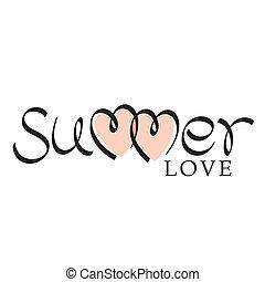 lettrage, main, amour, été