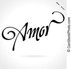 lettrage, main, (vector), amor