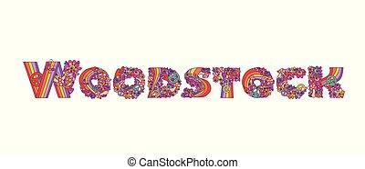 lettrage, mode, chemise, affiche, isolé, woodstock, main, conception, t, fond, impression, fête, blanc, dessin, hippie