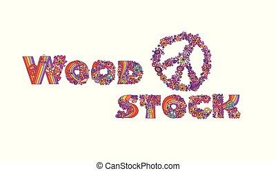 lettrage, mode, chemise, affiche, symbole, paix, isolé, woodstock, main, conception, t, fond, impression, fête, blanc, dessin, hippie