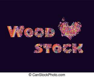 lettrage, mode, chemise, coeur, affiche, isolé, woodstock, main, sombre, forme, conception, t, fond, impression, fête, fleurs, dessin, psychédélique, hippie