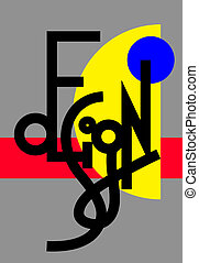 lettrage, moderne, original, conception, main, composition