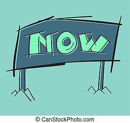 lettrage, motivation, main, vecteur, acte, maintenant