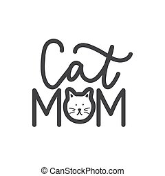 lettrage, museau, chat, chaton, maman, impression