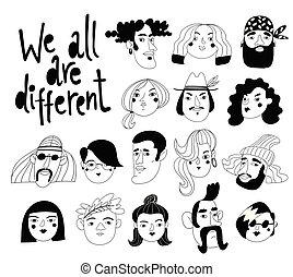 lettrage, nous, gens, portraits, tout, différent, vecteur, conception, ou, avatars