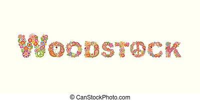 lettrage, paisley, fleur, hippie, puissance, affiche, symbole, paix, woodstock, autre, conception, t, fond, fête, fleurs blanches, coloré, impression, chemise