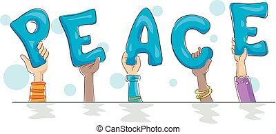 lettrage, paix, illustration, mains