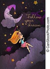 """lettrage, peu, mignon, balançoire, nuageux, dream"""", sky., """"follow, nuit, devant, girl, lune, ton"""