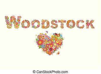 lettrage, puissance fleur, coloré, coeur, affiche, woodstock, forme, autre, conception, t, fête, fleurs, impression, chemise