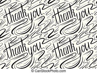 lettrage, remercier, inscription, modèle, main., seamless, calligraphic, écrit, you.