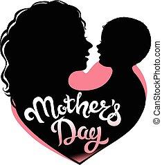 lettrage, silhouette, jour, mères