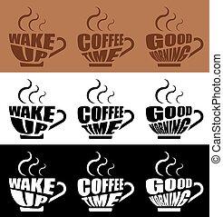 lettrage, steam., bon, formulaire, chaud, mood., café, fortifier, grande tasse, matin, inspirationnel, vecteur