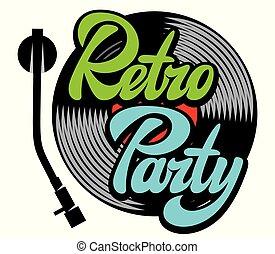 lettrage, style, éléments, enregistrement, conception, retro, élégant, fête, vinyle